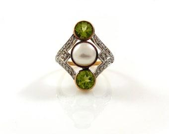 Art Deco Pearl, Peridot, & Diamond in 18K Gold Ring