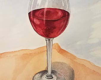Original Glass of Wine Watercolor