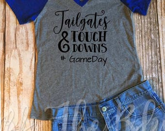 Tailgates and Touchdowns Gameday Ladies Vneck Tee