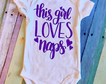 This Girl Loves Naps Baby Onesie