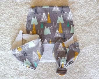 Baby Gift Set - Mountains - Teething Ring, Bandana Bib, and Burping Cloth