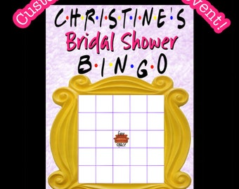 FRIENDS tv themed bridal shower bingo  Digital printable OR printed and free shipping  - party games - bridal games - customized personalize