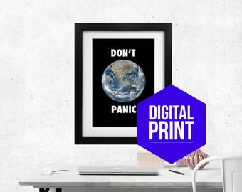 Don't Panic Instant Download Wall Art Printable Douglas Adams Motivational Print Office Wall Decor Quote Poster Hitchhiker's Guide