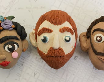 Artist Magnets, Van Gogh, Kahlo, Dali polymer clay magnets