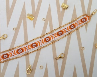 Orange and Brown peyote bracelet