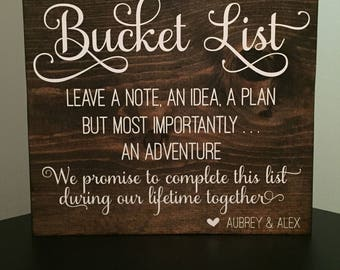 Wedding Bucket List Sign ~ Wedding Decor ~ Wedding Activity ~ Bucket List ~ Wedding Guest ~ Wedding Sign