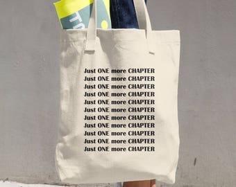 Shoulder Bag for Book Lover, One More Chapter, Literary Bag, Bookish Tote Bag, Book Lover Bag, Book Tote, Carry-all Bag, Beige Tote Bag
