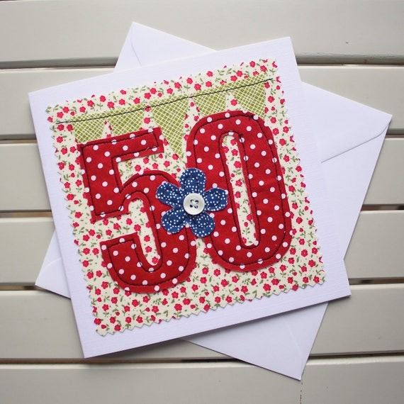 Machine Embroidered 50th Birthday Card