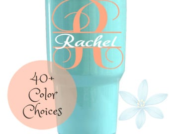 Yeti Decal, Tumbler Decal For Women, Yeti Cup Decal, RTIC Decal, Ozark Trail Decal, Monogram Decal, Initials Name Decal, Yeti 30oz Decal