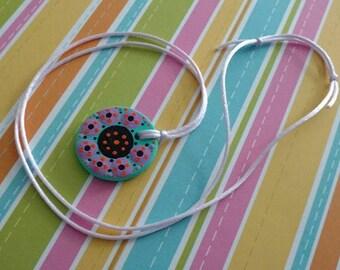 FREE SHIPPING / Hand Painted Necklace #C2 / Mandala / Dot Jewelry / Mandala Art / Dot Painted Pendant / Painted Wooden Necklace