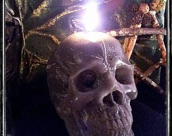 Ash skull candle wicca