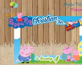 Peppa Pig Photo Booth / Peppa Birthday / Birthday Backdrops / Birthday Photo Booths / George Pig / Peppa Birthday / Peppa Pig Selfie Frame