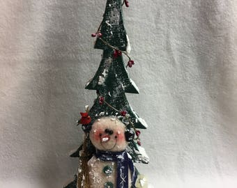 Snowman with Wood Tree (#023)