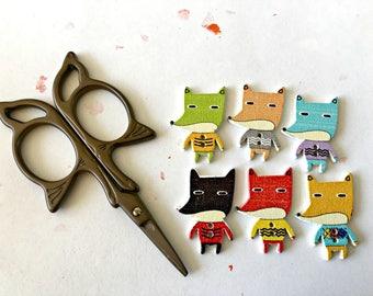 fox buttons, wooden buttons, animal buttons, craft buttons, animal button, decorative button, two holes, children's craft, scrap booking