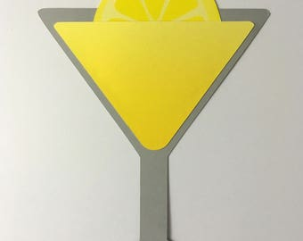 Lemon Martini Invitations, Bachelorette, Girls Night, Pocket Invites, Die Cut (5 pk)