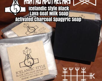 Icelandic Style Black Lava Goat's Milk Soap / Activated Charcoal Spagyric Soap