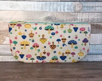 Pencil Case –Colorful Mushrooms – Handmade Japanese Fabric Zipper Pouch Zippered Bag Back to School Supplies – Kawaii Girls Boys Kids