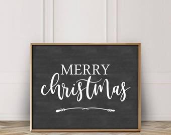 Merry Christmas Printable-Merry Christmas Sign-Merry Christmas Chalkboard Sign Printable-Chalkboard Christmas Print-Farmhouse Christmas
