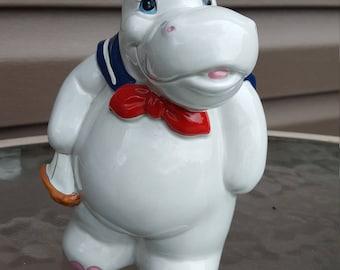 Vintage Enesco Hippo Sailor Bank