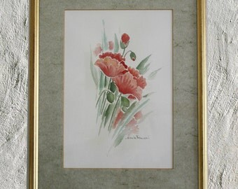 Poppies-framed glass framed watercolor colorful flowers blooming flowers watercolor reggalo for her anniversary