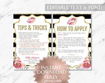 Floral Black and Gold Striped LipSense Tips and Apply Card Printable Templates