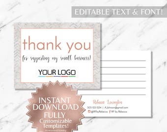 Rose Gold and Marble RF Printable Thank You Postcard INSTANT Template