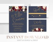 Printable Floral Wedding Invitation // Invitation Suite // Marsala Navy Wedding Invitation // Wedding Stationery // Gold // Burgundy // Boho