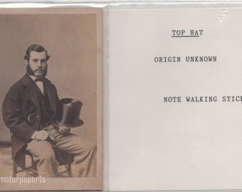 Antique CDV Photograph -  Unknown bearded man with walking stick and top hat.