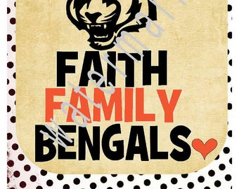 Football SVG - Faith Family Bengals -silhouette cameo cricut DXF - Football T shirt iron on transfer Football helmet JPEG Monogram football