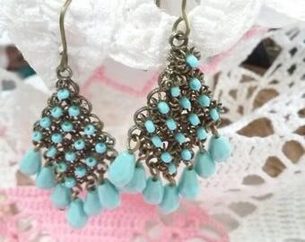 Vintage aqua turquoise color beaded boho pierced earrings
