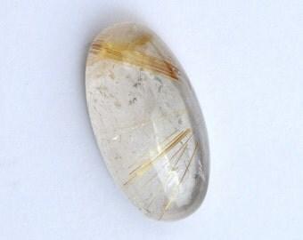 Golden Rutilated Quartz 24x12x6 MM Rutile Stone Oval Cabochon Golden Rutile gemstone 22.6 ct.
