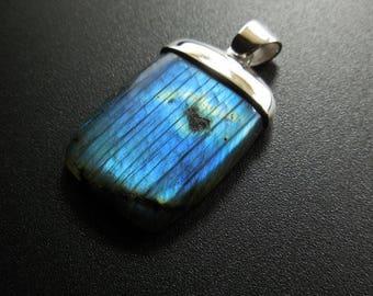 Natural  Labradorite 925 Silver  Pendant
