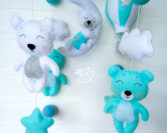 Music mobile Bear Mobile Hot air Balloon mobile  Baby Mobile for boy Cloud Mobile Nursery Felt baby mobile Mint nursery decor Blue mobile