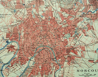1900 Antique city map of MOSCOW, RUSSIA. Moskva. 118 years old chart