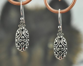 Sterling Silver Antiqued Puffed Oval Filigree Earrings