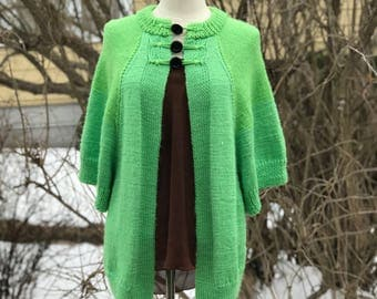 Spring Green Sweater, Short Sleeved Cardigan, One Size Fits Most Hand Knit Jumper
