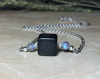 12mm Square Russian Shungite Necklace, EMF Protection, Labradorite Necklace, Healing, Aura Protection, Purification, Gift For Her