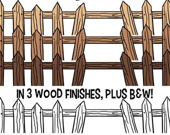 Clip Art Fence Etsy - Cartoon fence clip art