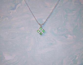 Tsavorite Garnet Multi-Stone Pendant, Natural Vibrant Green Tsavorite Garnet Necklace