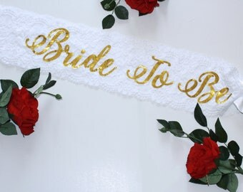 Lace Sash Bride To Be Sash Bachelorette Sash Plus size Bachelorette accessory Personalized Bridal Shower Wedding sash Bridal Sash Bride Sash