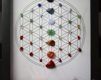 Chakra Flower of Life Crystal Grid