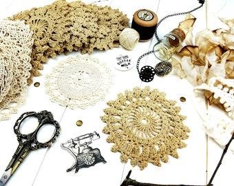 Crochet Doily /Ivory Doily / Vintage Doily / Junk Journal Doily