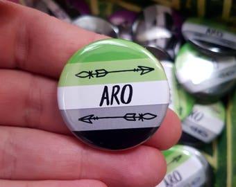 Aromantic aro pride arrow design 32mm badge