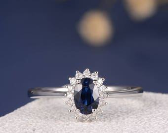 Blue Sapphire Engagement Ring Halo Princess Diana Wedding Oval Shaped Cut White Gold Diamond Traditional Promise Birthstone Anniversary