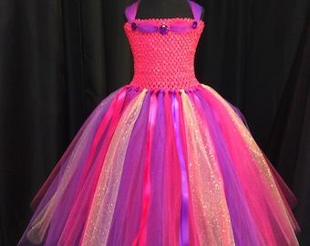 Pink, purple & gold princess tutu dress, bright pink and purple tutu dress for girls, birthday dress, gift for her, princess dress, dress up