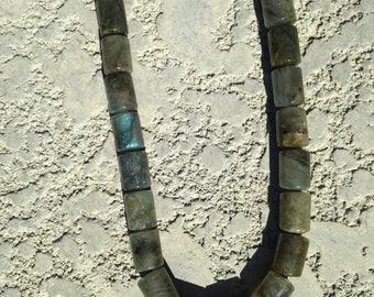 Barrel Labradorite Beaded Necklace