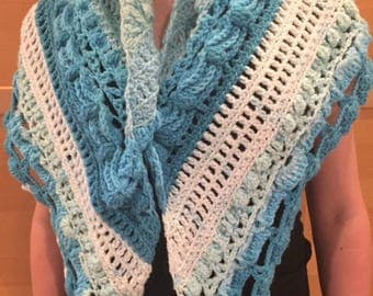 Shawl, Multicolored Shawl, Blue Shawl, Crocheted Shawl
