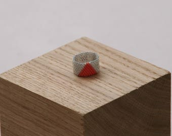 Beaded ring Simone (Coral)