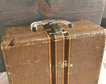 Vintage Train Case or Suitcase or Make-up Case, with Clear Handle