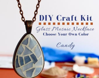 Complete Jewelry Making Kit, Glass Mosaic Necklace Activity Choose Your Own Color -Candy Color Options, Gift for Crafter DIY Jewelry Kit